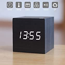 Wooden LED Digital Alarm Clock, Displays Time Date And Temperature, Cube USB/ 3AAA Battery Powered Sound Control Desk Alarm Clock for Kid, Home, Office, Daily Life, Heavy Sleepers By Zeekoo (Black)