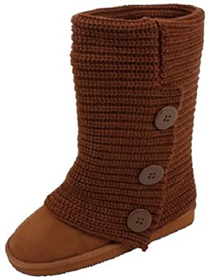 Womens Rib Knit Sweater Crochet Boots 2 Colors Available (6, Chestnut Knit)