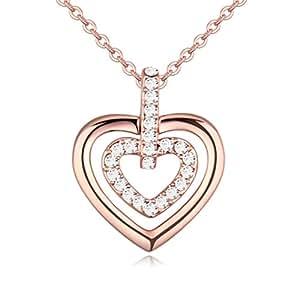sojewe Mode Mujer Joyas oro chapado en oro Doble Corazón Colgante Collar Bag regalo del paquete blanco grabado Swarovski Elementos Cristal respetuoso con el medio ambiente