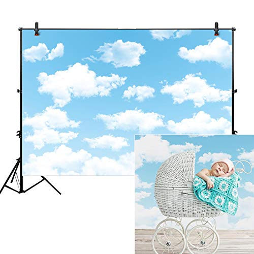 Allenjoy 7x5ft Fabric Blue Sky White Cloud Backdrop for Newborn Spring Portrait Photography Pictures Kids Children World Travel Aviator Birthday Party Decor Welcome Baby Shower Photo Shoot Background ()