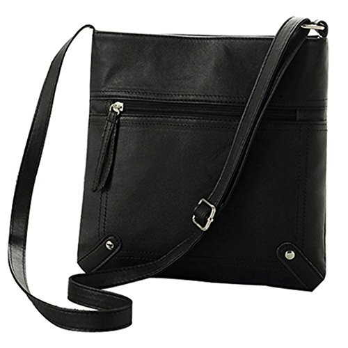 Color Black Softmusic Body Messgaer Bag Bag Shoulder Casual Cross Leather Faux Solid Women's wq1qOtB