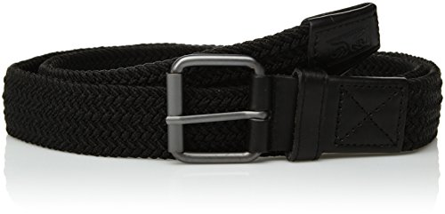 OBEY Men's Icon Braided Elastic Belt, Black, S/M (Black Icon Belt)
