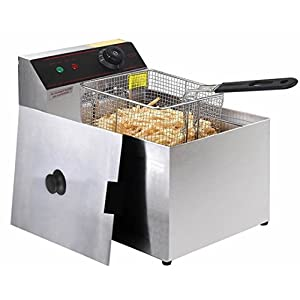 Quality Kitchenware -Commercial Electric Deep Fryer 2500 W - Tabletop Restaurant Fry - Frying w/ Basket Scoop - Durable Heavy Duty Stainless steel