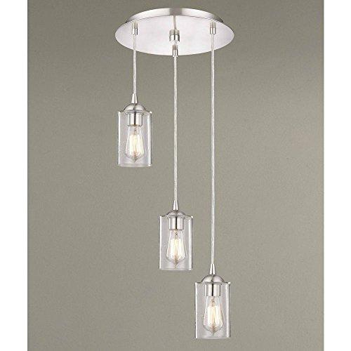 Seeded Glass Multi-Light Pendant Satin Nickel 3 Lt Classic 3 Light Outdoor Pendant