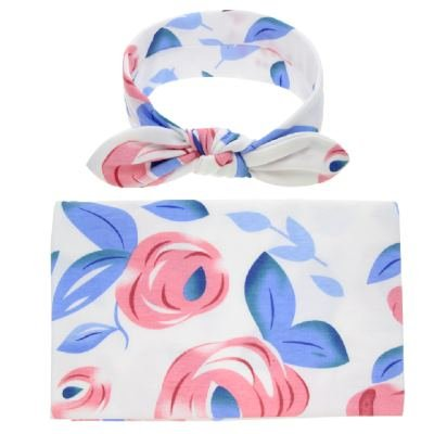 inSowni Hospital Receiving Swaddle Blanket Wrap Big Flower with Bow Headband Photography Outfit for Newborns Baby Girl -