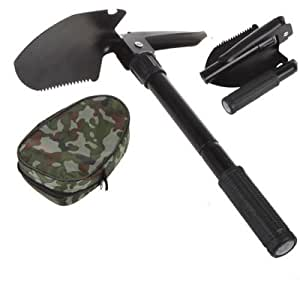 Military Folding Shovel Survival Spade Emergency Garden Camping , Multi-functional Use Folding shovel, dibble pick, saw, compass and bottle opener