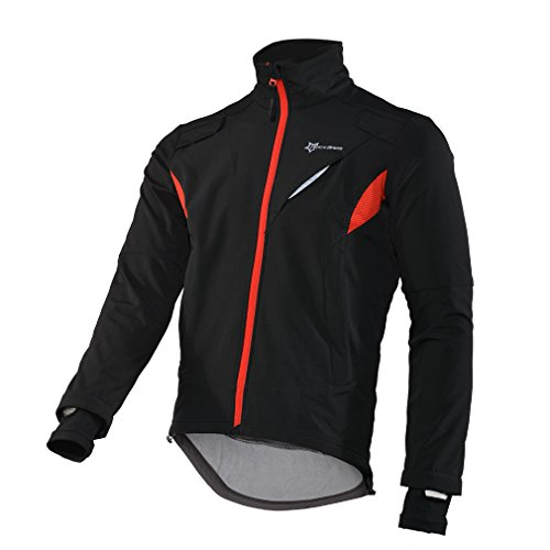 Fleece Jersey Jacket (RockBros Winter Cycling Fleece Thermal Windproof Jacket Outdoor Sport Rainproof Coat Casual Riding Long Sleeve Jersey for Men Black (Large))