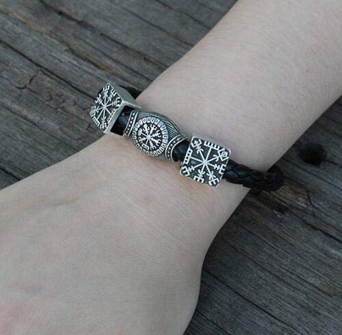Gabcus 1pcs Viking Men Bracelet Norse Vegvisir Symbol Bangle Pagan Norse  Jewelry - (Metal Color: Antique Silver Plated, Length: 21cm)