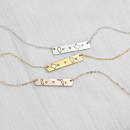 dbbe9386138b8 Personalized Necklace Best Friend Gifts Long Distance Relationship State  Necklace Monogram Name Necklaces Friendship Gifts - 4N-LDS