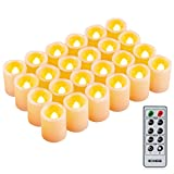 Kohree LED Votive Unscented Battery Powered Candles Flameless Pillar Candles With Remote Control Timer, Dim 1.5''x1.9'', Set of 24