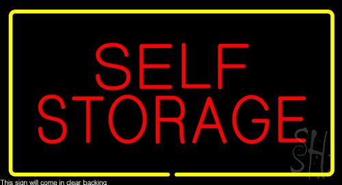 Self Storage Rectangle Yellow Clear Backing Neon Sign 20'' Tall x 37'' Wide by The Sign Store