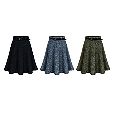 Large Size Womens Basic Versatile Waist Stretchy Flared Skater Skirt Thick Fabric is Suitable for Autumn and Winter Seasons