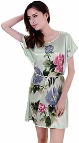 55b8bc517b NEEVAS Women s Chinese Style Short Sleeve Silk Dress Loose Nightgown Pajamas  Bathrobe