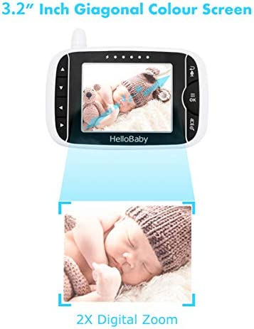 41uIcqESt2L. AC - HelloBaby Video Baby Monitor With Remote Camera Pan-Tilt-Zoom, 3.2'' Color LCD Screen, Infrared Night Vision, Temperature Display, Lullaby, Two Way Audio, With Wall Mount Kit