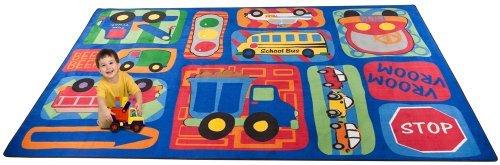 Kid Carpet FE746-34A Vroom Car Play Nylon Area Rug 6' x 8'6 Multicolored [並行輸入品]   B07HLFMSSW