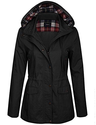 KOGMO Womens Zip Up Anorak Safari Jacket with Checker Lining Hoodie-S-Black ()