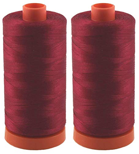 (2-Pack - Aurifil 50WT - Red Wine (2260) Solid - Mako Cotton Thread - 1422 Yards Each)