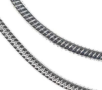Sterling Silver Snake Chain Rhodium 1.2mm 20 Inch by ugems