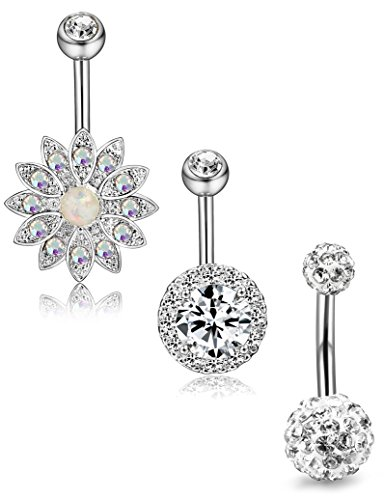 silver belly button rings - 3