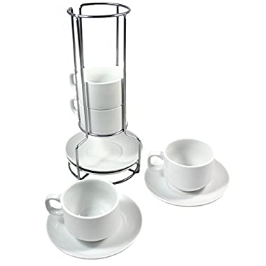 White Ceramic Stackable Coffee and Espresso Cup Set with Wire Stand Cup and Saucer Holder, Includes Cup, Saucers, and Wire Steel Stand, Coffee Cup Set