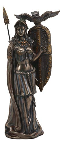 Ebros Athena Minerva with Aegis Shield Spear and Overseeing Owl Statue Greek Roman Goddess of Wisdom Strategy and Battle Sculpture Home Office Decor Desktop Figurine Classical ()