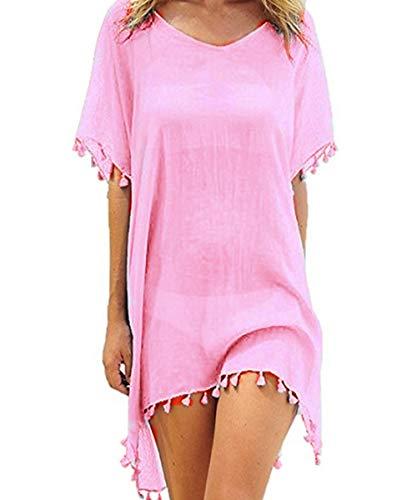 VYNCS Womens Casual Chiffon Tassel Stylish Kaftan Bikini Swimsuit Cover Up (Pink) ()