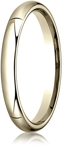Benchmark 14K Yellow Gold 3mm High Dome Heavy Comfort-Fit Wedding Band Ring , Size 7 ()