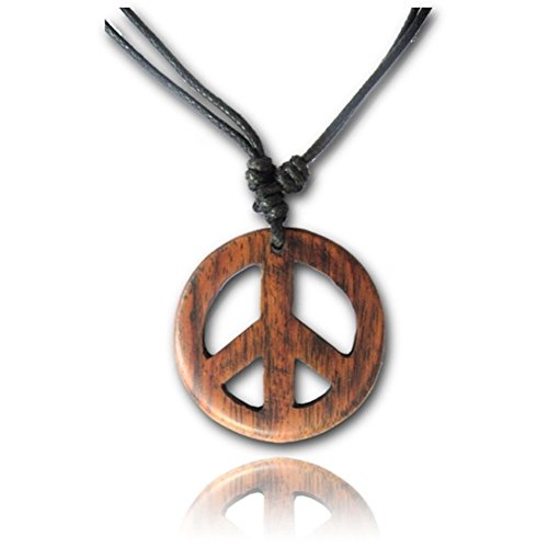 Earth Accessories Adjustable Peace Sign Pendant Necklace with Organic Wood]()