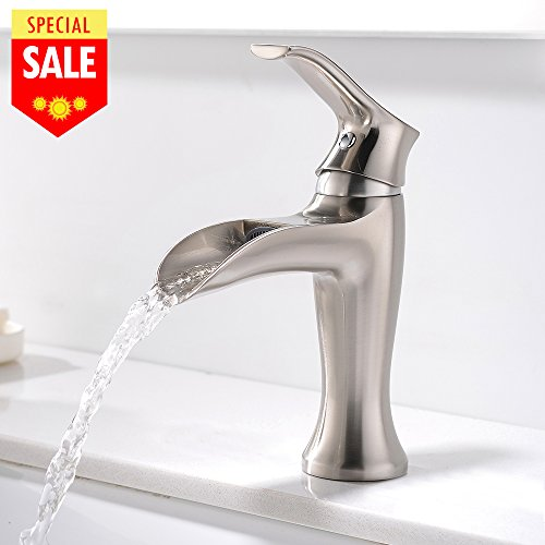 Single Hole Waterfall - VESLA HOME Single Handle Hole Waterfall Bathroom Vanity Sink Faucets,Brushed Nickel Bathroom Sink Faucet Without Pop Up Drain