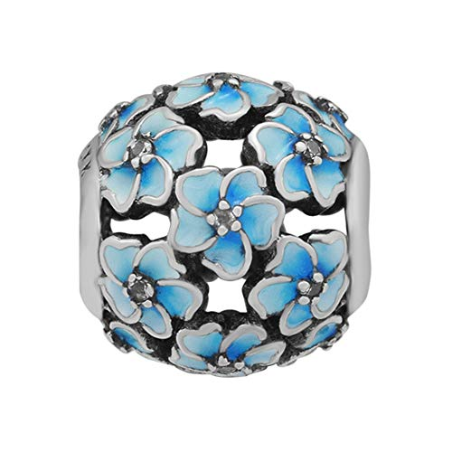 (CKK Flower Charm Fit Pandora Bracelet Blue Enamel Plumeria Spacer Bead Charms for Bracelets DIY Women Jewelry 925 Sterling Silver)