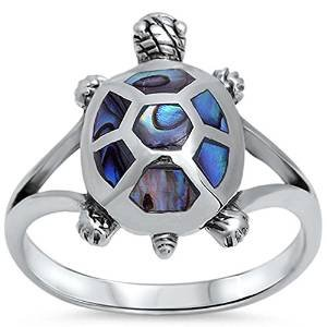Abalone Turtle Design .925 Sterling Silver Ring Size 11 (Abalone Turtle)