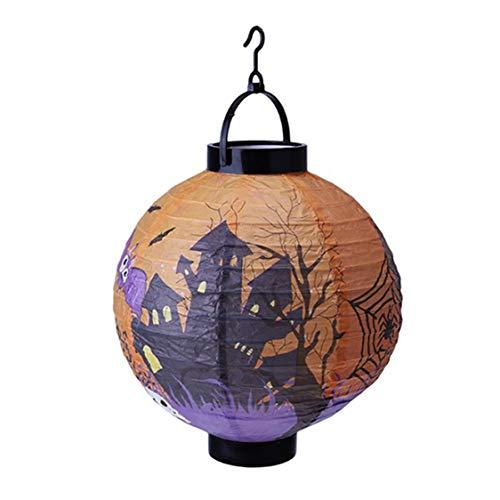 DOSOMI Halloween Decoration LED Paper Pumpkin Hanging Lantern Light Lamp for Home Horror Supplies]()