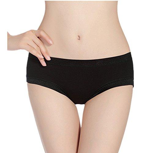 MEISHINE® Elegante Braguita par Mujer �?Modal Hipster Briefs Culottes Ropa Interior Negro