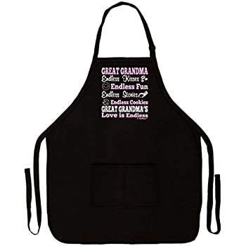 Mother's Day Gift Great Grandma's Love is Endless Funny Apron for Kitchen BBQ Barbecue Cooking Baking Crafting Gardening Two Pocket Apron for Great Grandma or Mom Black