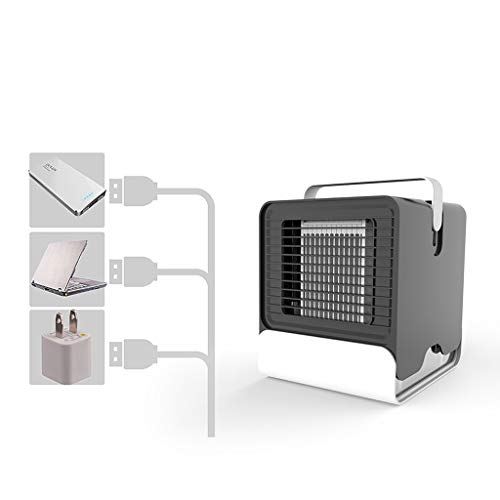 Personal Arctic Air Cooler, USB Evaporative Coolers with Waterbox, Portable LED Table Fan, USB Charging, Ultra-Quiet Table Fan for Home Office Bedroom Kids (Black)