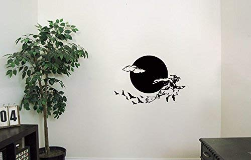 The Witch On A Broomstick Vinyl Wall Decals The Bats Moon Halloween Horror Decal Sticker Vinyl Murals Decors IL0262