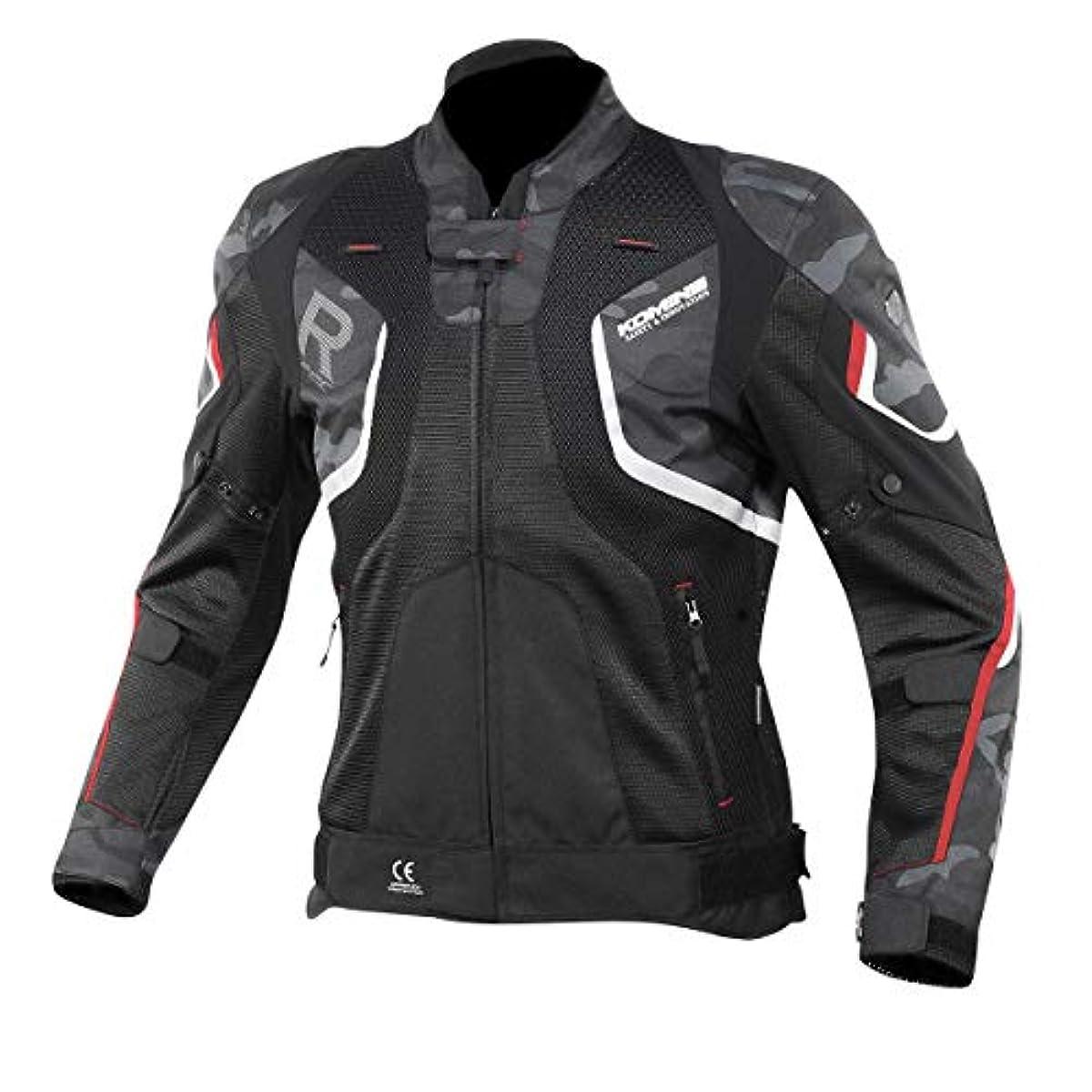 [해외] 코미네 KOMINE 오토바이 R스펙 메쉬 재킷 아우터 프로텍터 통기성 레이싱 봄과 여름 BLACK CAMO/RED XL 07-143 JK-143