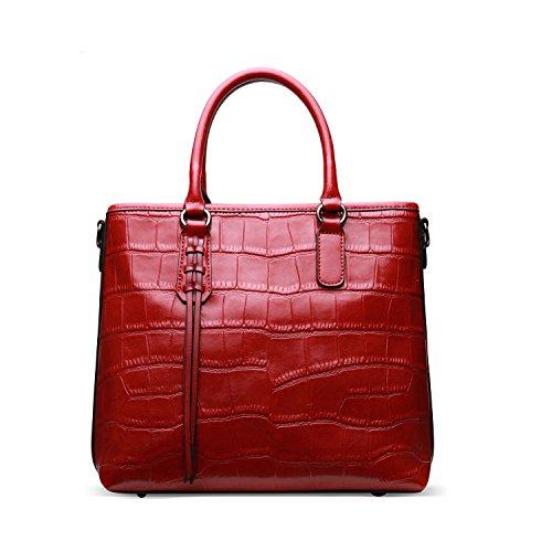 BAIGIO Women's Leather Top-handle Handbag Fashion Cross-body Bag Crocodile Print Cowhide Tote Red Bags Purse (Crocodile Print Patent Bag)