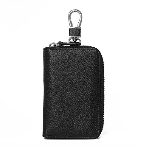 (Women's Genuine Leather Zipper Key Case Car Key Holder 8 Hook Key Wallet (Black)