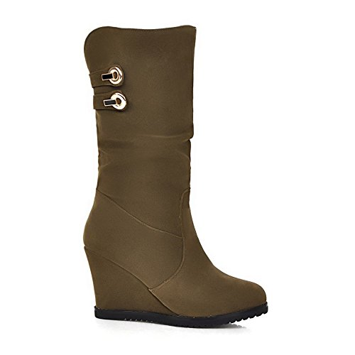 Toe runde Feste Pull Armygreen On Closed Allhqfashion High Damen Stiefel Heels Frosted IRq8Ywp