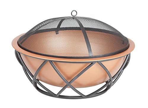"Fire Sense Barzelonia Round Copper Look Fire Pit - 26"" copper look fire bowl Decorative base with Black high temperature paint One-piece mesh spark screen with high temperature paint - patio, fire-pits-outdoor-fireplaces, outdoor-decor - 41uIfjvyCmL -"