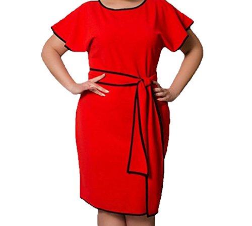 Coolred Femmes Couleur Pure Grande Taille Robes De Soirée De Mode Rouge Robe D'été