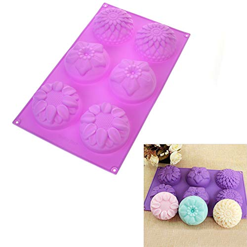 DIY 6 Cavity Flower Shaped Silicone Handmade Soap Candle Cake Mold Supplies 6 Cavity Flower Shaped -