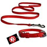 Pawzone Puppy Nylon Red Leash with Collar Set - Small