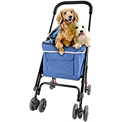 Mkaijzm Dog Stroller Pet Stroller for Small Dogs/Cats Up to 8kg (Color : Blue)