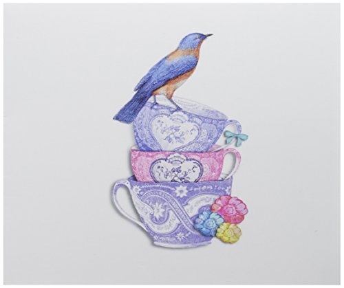 3dRose Greeting Cards, Three Pretty Tea Cups with a Bird on Top, 6 x 6 Inches, Pack of 12 (gc_210715_2) ()