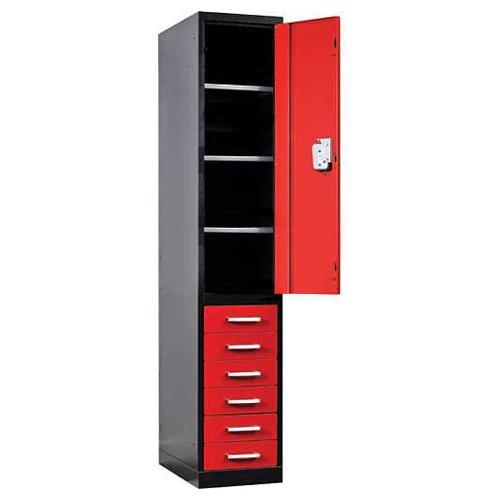 Fort Knox Locker Cabinet Single Half Ht Door & 6 Drawers, 18x24x78black & Red
