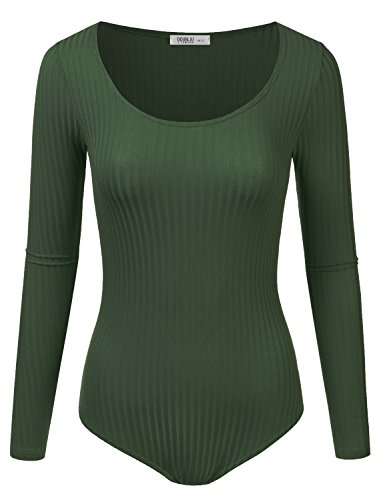 Doublju Stretchy Scoopneck Rayon & Ribbed Knit Bodysuit (Made In USA / Plus size available) DKOLIVE SMALL