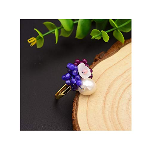 (Fashion wonderland 925 Sterling Silver Natural Pearl and Blue Purple Stone Flower Handmade Ring Fine Jewelry)