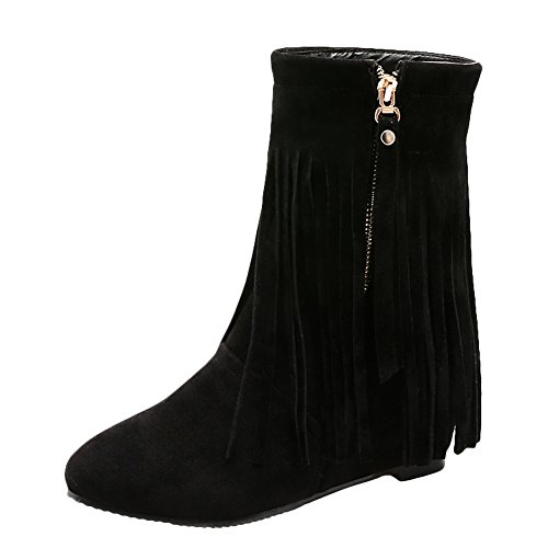 Latasa Womens Pointed-Toe Faux Suede Tassel Boots Black O3lTTNrw